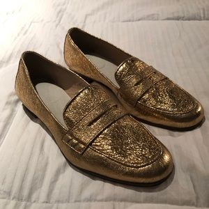 J. Crew Gold Foil Loafers